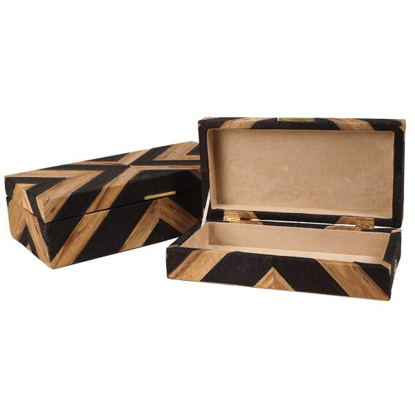 Black & Wood Decorative Boxes