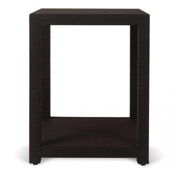 Aneka Tusma Black Grasscloth Side Table