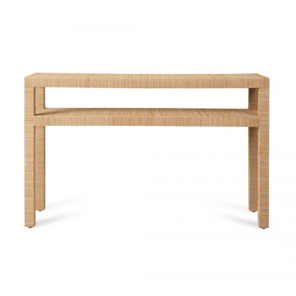 Aneka Tusma Grasscloth Parsons Console Table