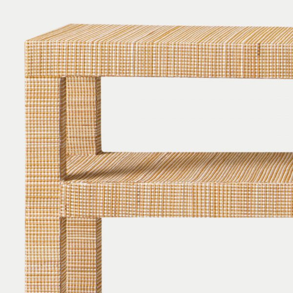 Aneka Tusma Mendong Grasscloth Parsons Console Table