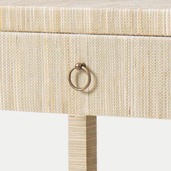 Aneka Tusma Grasscloth Nightstand Drawers Brass Pull Handle