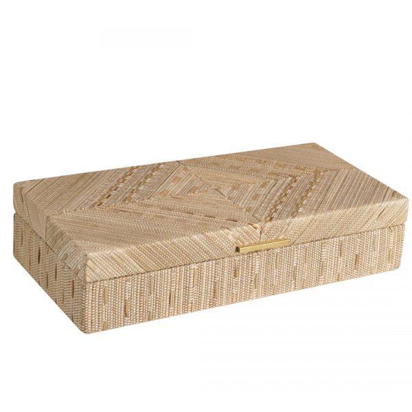 Medium Woven Decorative Boxes White Boho