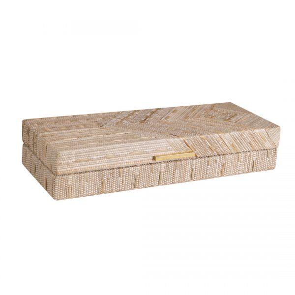 Small Woven Decorative Boxes White Boho