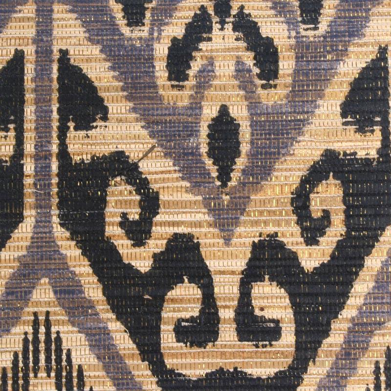 Aneka Tusma Black Ikat Print Water Hyacinth Grasscloth